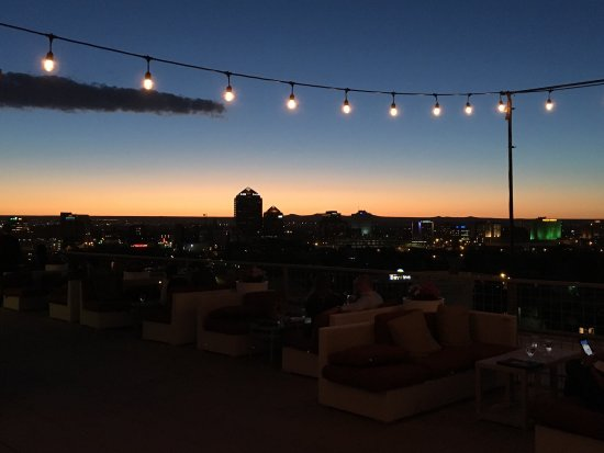 Amazing view of downtown Albuquerque from the rooftop bar at the Hotel Parq Central