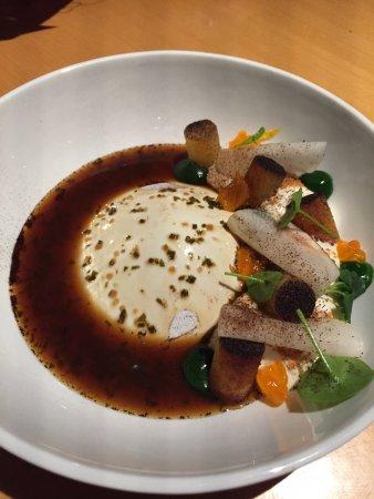 Appetizer: curd, potato, egg yoke, and radish - a flavor explosion