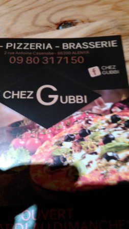 Alenya, France: Carta de pizzas Chez Gubbi