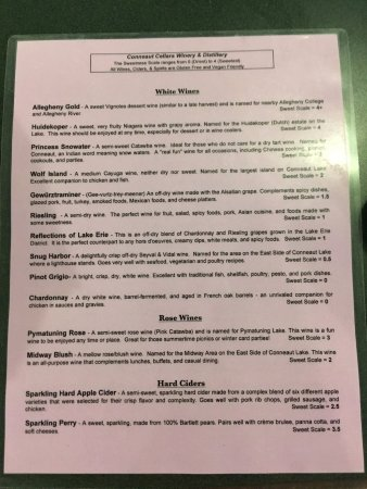 Conneaut Cellar Wineries: Menu 1