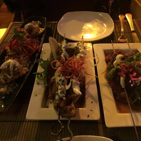 Rick's Cafe Americain - Restaurant and Bar: L-R Turkish Ravioli, Moroccan Chicken, Turkish Kabab!