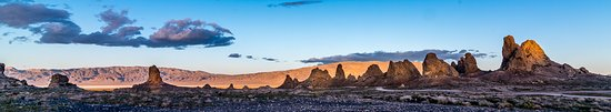 Panorama of the Trona Pinnacles at Sunset in April