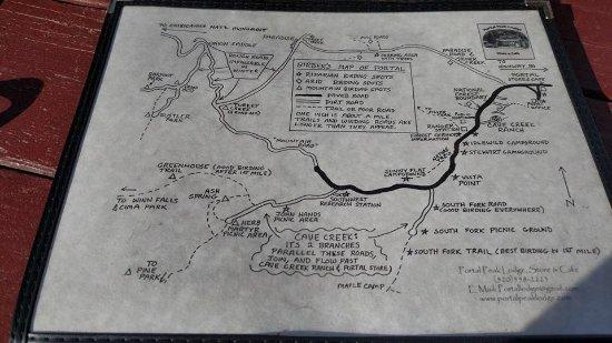 Portal, AZ: the map menu