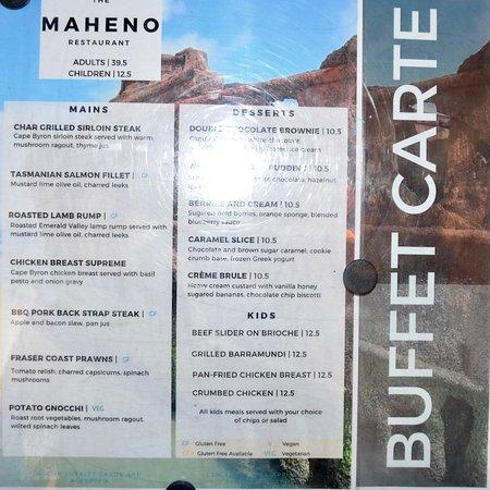 Kingfisher Bay Resort Maheno Restaurant Menu