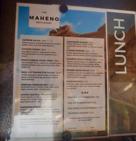 Kingfisher Bay Resort Maheno Restaurant Menu