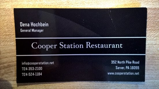 Sarver, PA: Business card of Cooper Station manager.