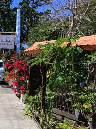 BergBlick Restaurant : entrance at the roadside.