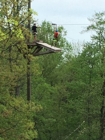 "Stevens, PA: Coming in one of the zip lines on ""Aerial Excursion - 7 Zip Lines"""