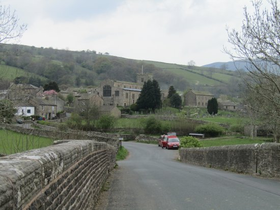 Dent, UK: coming back from a walk into village