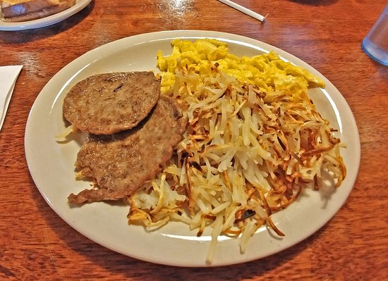 Starvin Arvin's: 2 scrambled eggs, sausage and taters