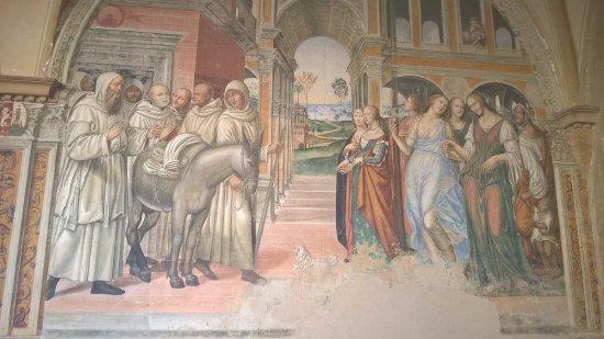 """Asciano, Italien: un affresco del Sodoma """"S. Benedetto manda le male femmine al monastero"""""""