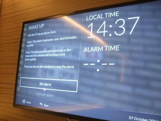 Alarm clock on TV - Picture of Hub by Premier Inn London