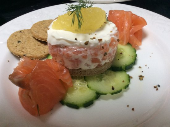Dollar, UK: One of our new Starters - Gin Cured Gravadlax : Juniper Berries : Oatcakes