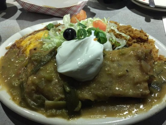 Avondale, AZ: Chimi with green sauce rice and beans