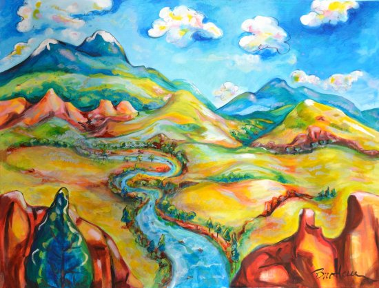 Salida, CO: Painting title: Winding River.  Acrylic on Canvas.