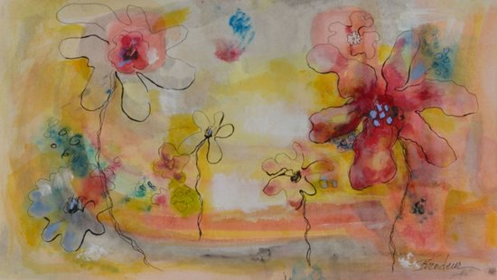 Salida, CO: Painting title:  Fairy Flower 4:  Mixed media on paper.