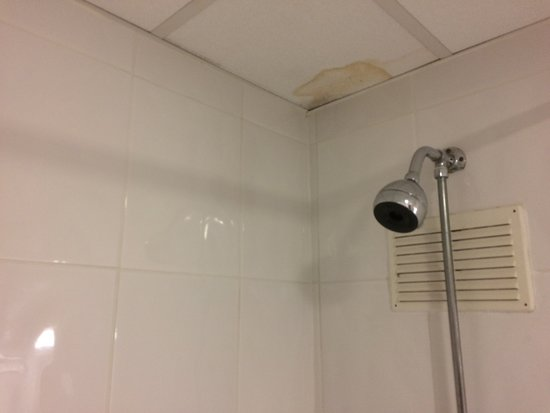 Brown Damp patch on ceiling above shower - Picture of Best Western