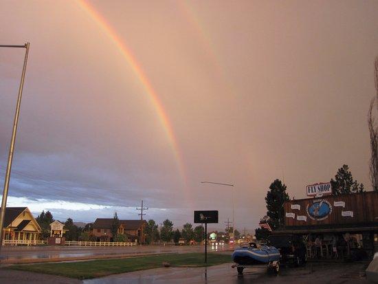 Hamilton, MT: Rainbow over the shop