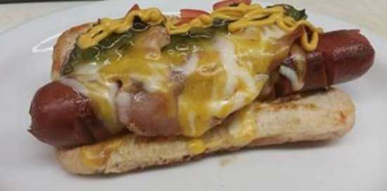 Durham, Canada: Bacon cheese hot dog