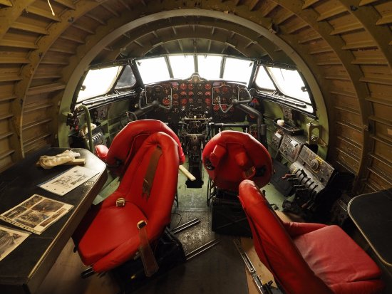 de Havilland Aircraft Museum: Inside the famous DH Comet, this view looking forwards to the cockpit,