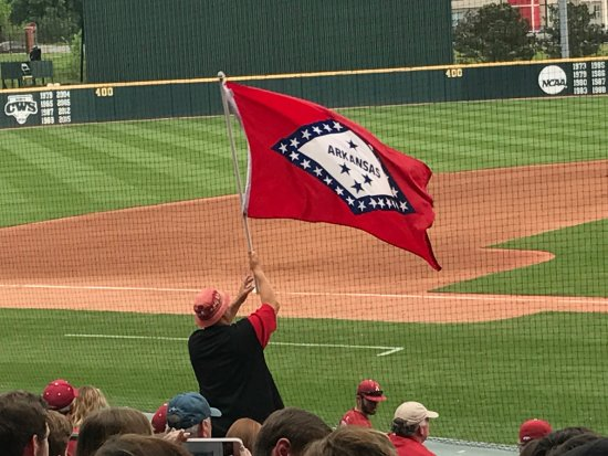 Baum Stadium: He attends every game and waves that flag