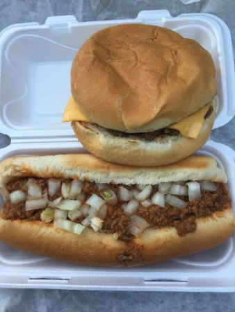 Jeffersonville, IN: Footlong chili dog w/onions and a cheeseburger. Cheap.