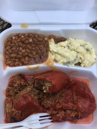 Jeffersonville, IN: Meatloaf dinner w/baked beans and potato salad. B-, but it was a value at under $6.