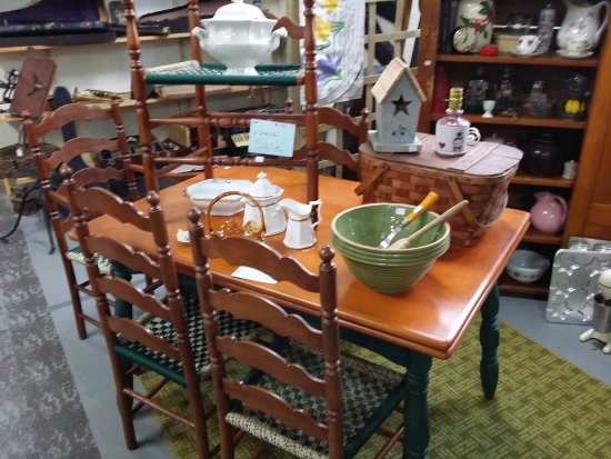 We have many beautiful tables at the Hallowell Antique Mall!