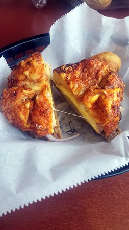 Hudson Bagel & Coffee Co.: Badger Sandwich on Pizza Bagel