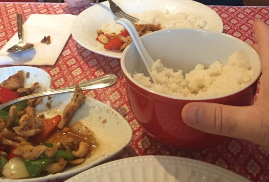 Viphalay Laos and Thai Restaurant : orange cashew chicken and coconut rice! Mmmmm