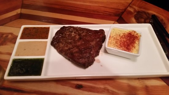 Steak with multiple sauces