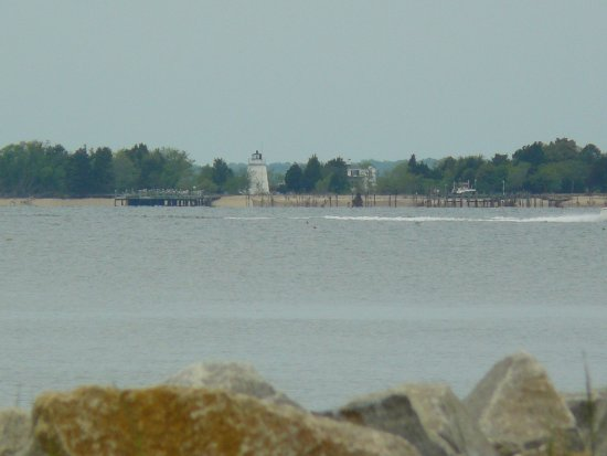 View of Piney Point lighthouse from balcony