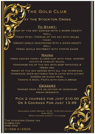 Kimbolton, UK: Gold Club Monday Menu