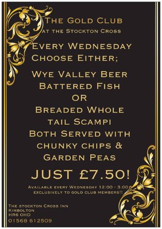 Kimbolton, UK: Gold Club Wednesday Menu