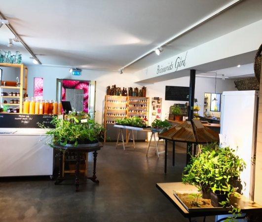 Eslöv, السويد: Butik med flera sorters hemgjorda produkter såsom sylter och geléer och plantor.