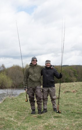 Larbert, UK: Happy at the end of the day on the River Tweed