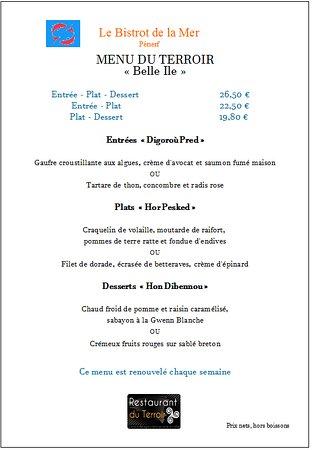 BISTROT DE LA MER CHEZ AURELIE : nouveau menu de la semaine