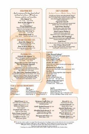 Bloomfield Hills, MI: Dinner Menu