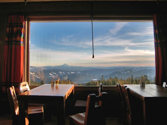View of Mt. Jefferson from the Ram's Head Bar at Timberline Lodge on Mt. Hood