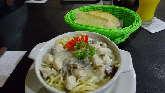 Don Anibal Restaurante Col-Mex: pasta con salsa blanca, pollo y champiñon