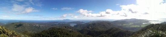 Great Barrier Island, New Zealand: View from the summit looking towards Little Barrier Island.