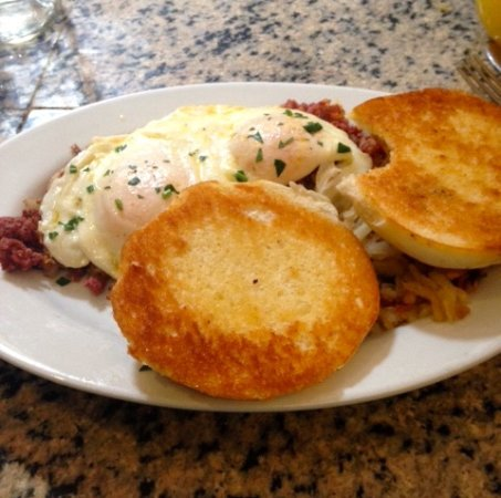 Milford, MA: Corned beef hash and eggs with Portugese sweet roll