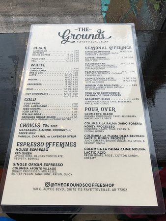 Menu Picture Of The Grounds At Garden Living Fayetteville Tripadvisor