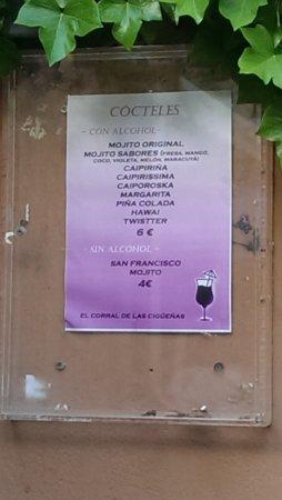 Province of Caceres, إسبانيا: Carta de cocteles
