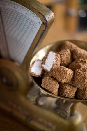 Philipsburg, MT: Flips...homemade Marshmallow, dipped in Milk Chocolate, and rolled in Toasted Coconut