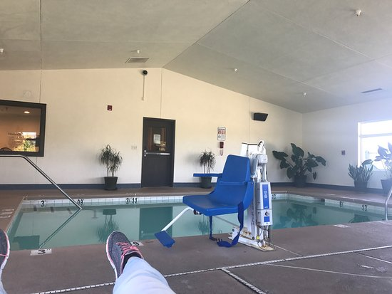 Fortuna, CA: The pool in tinier in person, but grateful to have pool indoors :)