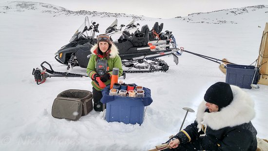 Iqaluit, Canada: our guide preparing the snack