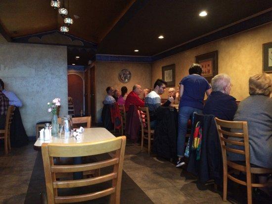 Park Ridge, IL: Interior and Falafel plate.