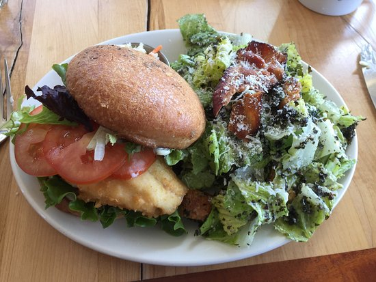 Indian Harbour, Canada: Haddock Burger with Caesar salad side