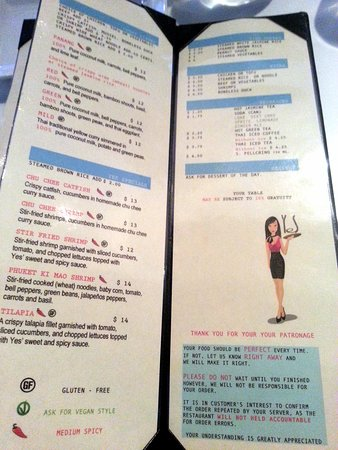Yes Thai: pages 5 & 6 of menu